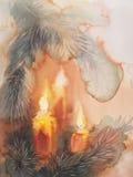 Julgranstearinljusvattenfärg Royaltyfria Foton