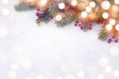 Julgranträd med garnering på vit snöig bakgrund royaltyfri fotografi