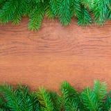 Julgranträd på ett träbräde Arkivbilder