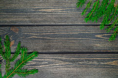 Julgranträd på träbakgrund Royaltyfria Bilder