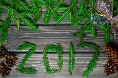 Julgranträd på träbakgrund med kottar Arkivfoton