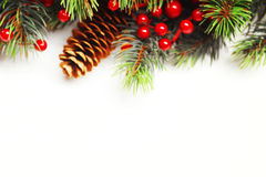 Julgrantree med garneringen Royaltyfri Fotografi