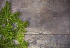 Julgrantree på ett träbräde Arkivfoton