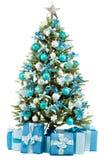 Julgrantreen med färgrika lampor stänger sig upp Royaltyfri Bild