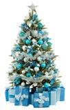 Julgrantreen med färgrika lampor stänger sig upp Arkivfoton