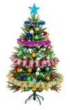 Julgrantreen med färgrika lampor stänger sig upp Royaltyfri Foto