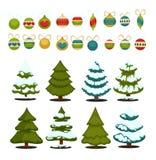 Julgranuppsättningen av gröna träd för jul och garnering klumpa ihop sig vektor illustrationer