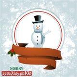 Julgräns med snögubben Royaltyfri Foto