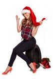 Julhälsningar för gummihjulhandeln Arkivfoto