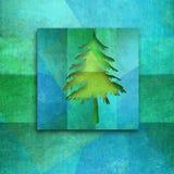 Julhälsningkort, elegant granträd Arkivfoto