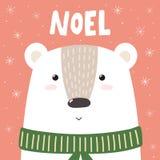 Julhälsningkort eller tryck med den gulliga björnen Fotografering för Bildbyråer
