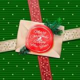 Julhälsningkort. Gåvaask för glad jul Arkivbild