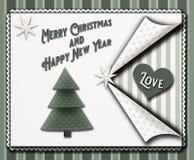 Julhälsningkort i en scrapbooking stil för tappning med stjärnor och en christmastree och nya för jul de ord glade lyckliga och royaltyfri fotografi