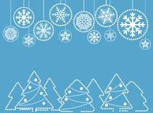Julhälsningkort med abstrakta struntsaker med prydnaden Royaltyfri Foto