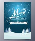 Julhälsningkort med att märka för glad jul, royaltyfri illustrationer