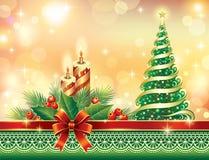 Julhälsningkort med den granträdet och stearinljuset Arkivfoto