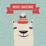 Julhälsningkort med den gulliga isbjörnen stock illustrationer