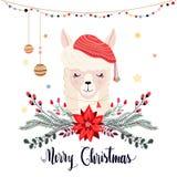 Julhälsningkort med den gulliga laman och den säsongsbetonade blom- buketten royaltyfria bilder