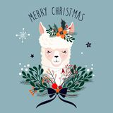 Julhälsningkort med den gulliga laman och den säsongsbetonade blom- buketten arkivbilder