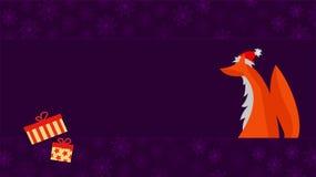 Julhälsningkort med den gulliga räven Arkivfoto