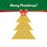 Julhälsningkort med det guld- gran-trädet Arkivbilder