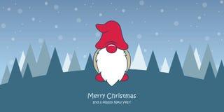 Julhälsningkort med dvärg- gullig jul och snöig landskap stock illustrationer