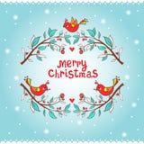 Julhälsningkort med fågeln och filialen. Arkivbilder