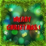 Julhälsningkort med grön bakgrund. Arkivfoto