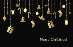 Julhälsningkort med guld- julleksaker Fotografering för Bildbyråer