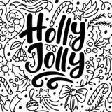 Julhälsningkort med Holly Jolly text vektor illustrationer