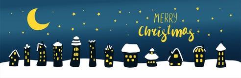 Julhälsningkort med hus på natten vektor illustrationer