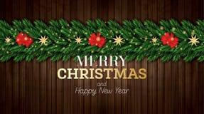 Julhälsningkort med julgranfilialer och röd pilbåge på träbakgrund royaltyfri illustrationer