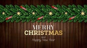 Julhälsningkort med julgranfilialer, röda raket och guld- stjärnor på träbakgrund royaltyfri illustrationer