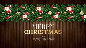 Julhälsningkort med julgranfilialer, röda raket och Santa Claus på träbakgrund stock illustrationer