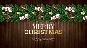 Julhälsningkort med julgranfilialer, röda raket och Snowmans på träbakgrund stock illustrationer