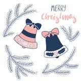 Julhälsningkort med klockor och granträdet stock illustrationer