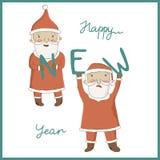 Julhälsningkort med Santa Claus Arkivbild
