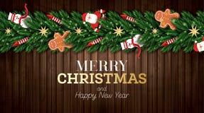 Julhälsningkort med Santa Claus, julgranfilialer, guld- stjärnor, den röda raket-, snögubbe- och pepparkakamannen vektor illustrationer