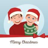 Julhälsningkort med tomt utrymme Arkivbilder
