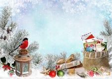 Julhälsningkort med utrymme för text, med gåvor, en lykta, en domherre, en påse av bokstäver och sötsaker royaltyfri illustrationer