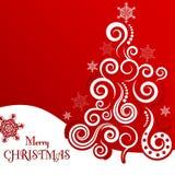 Julhälsningkort på en röd bakgrund Arkivbilder