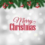 Julhälsningkortet, inbjudan med granträdfilialer och järnekbär gränsar Royaltyfri Bild