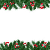 Julhälsningkortet, inbjudan med granträdfilialer och järnekbär gränsar på vit bakgrund stock illustrationer