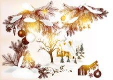 Julhälsningskort Stock Illustrationer