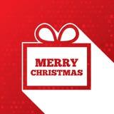 Julhälsningskort. Jul skyler över brister gåvaasken Royaltyfri Foto