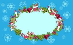 Julhälsningskort med den ovala ramen Royaltyfri Bild