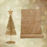 Julhälsningskort med guldmetallgran Royaltyfri Fotografi