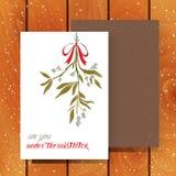 Julhälsningskort med mistletoen Royaltyfria Foton