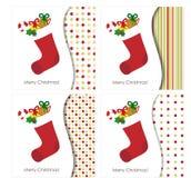 Julhälsningskort med strumpan Royaltyfri Bild