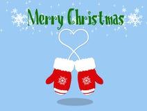 Julhandskar färgar rött royaltyfri bild